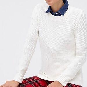 J. Crew Classic Crewneck Cream Knit Sweater